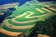 Dauphin Co., PA Farmland Contours, Mixed Cropping Aerial Photograph Pennsylvania