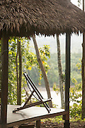 Deck chair at Manu Learning Centre overlooking the Alto Madre de Dios River, Manu National Park, Peru, South America