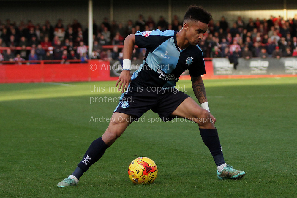 Paris Cowan-Hall of Wycombe in action. Skybet football league two match, Cheltenham Town  v Wycombe Wanderers at The Abbey Business Stadium, Whaddon Road in Cheltenham, Glos on Saturday 22nd November 2014.<br /> pic by Mark Hawkins, Andrew Orchard sports photography.