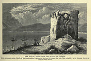 The BAY OF 'AKKA FROM THE SLOPES OF CARMEL. With the ruined castle of Haifa in the foreground and a glimpse of the town of Haifa at the foot of the castle-hill ; in the distance the city of 'Akka is clearly shown. Wood engraving of from 'Picturesque Palestine, Sinai and Egypt' by Wilson, Charles William, Sir, 1836-1905; Lane-Poole, Stanley, 1854-1931 Volume 3. Published in by J. S. Virtue and Co 1883