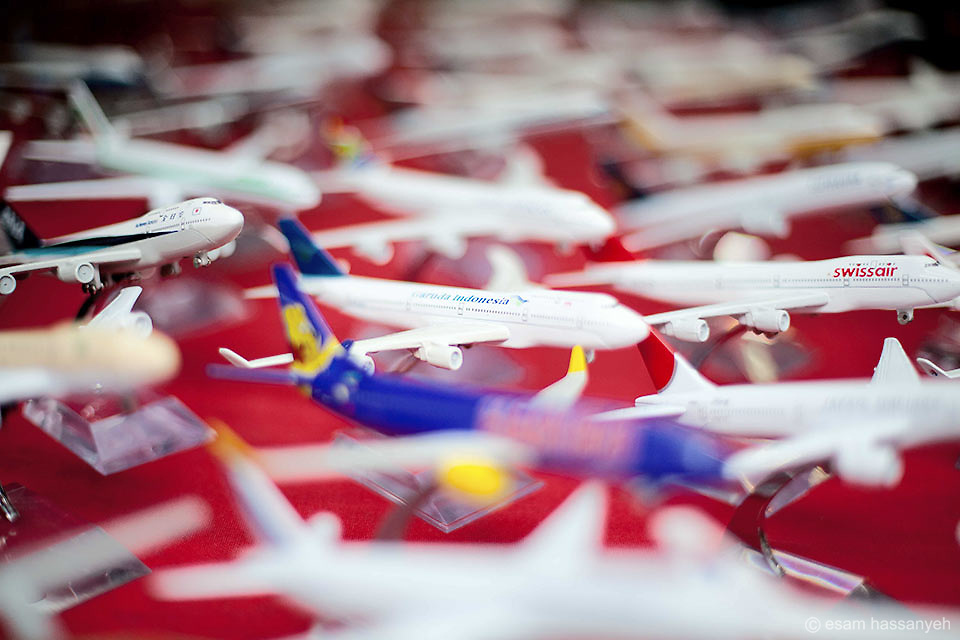 A cluster of miniature planes from some of the worlds airlines.