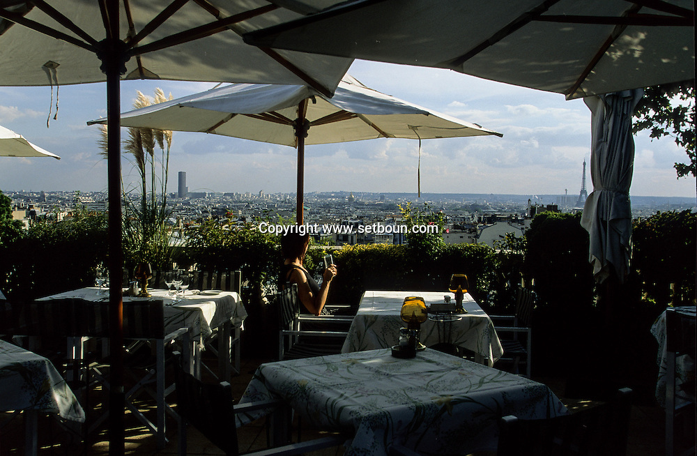 France Paris. view on Paris from the restaurant la terrace on the roof of the hotel la terrace 75018