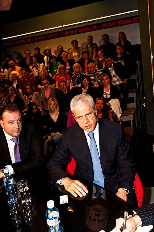 """Serbian President Boris Tadic on the set of PRVA TV's show """"Stav Srbije"""" (""""The Position of Serbia""""), accompanied by Serbian Ambassador to the United States Vladimir Petrovic. April 20, 2012...Matt Lutton for The Wall Street Journal..SERBELECT"""