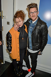 JAIME WINSTONE and HENRY HOLLAND at a party to celebrate the launch of the Maddox Gallery at 9 Maddox Street, London on 3rd December 2015.