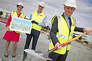 NO FEE PICTURES<br />13/7/18 Irish Life has formally broken ground on its new Customer Centre in Dundalk, Co Louth. The building has been designed by leading Dublin based architects, wejchert Architects and is being delivered by main contractor Stewart Construction. The new site area is 1.6 hectares with an office size of 45,000 sq ft. It is expected that over 200 construction workers will be on site during the construction phase of the project, which will be a significant boost to local employment in the Dundalk Area. Pictured are : Aine Cassidy, Excutive Manager, Dundalk Office, Paul Stewart, MD Stewart Construction, David Harney, CEO Irish. Picture :Arthur Carron