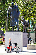 The statue of the Winston Churchill appears to be unboxed outside the House of Commons in central London on Monday, June 22, 2020.<br /> Authorities boarded monuments and statues in London most due to their past linkage to slavery in anticipation of possible vandalism with far-right organisations and Black Lives Matter demonstration scheduled for last weekend. <br /> Police are often seen guarding the unboxed monuments of Winston Churchill, Nelson Mandela and Mahatma Gandhi that have become major focuses of contention in demonstrations against racism and police violence. Anti-racism demonstrators held the fourth weekend of protests across the U.K., despite a ban on large gatherings due to coronavirus pandemic outbreak. Anger against systemic levels of institutional racism have raged through the city, and worldwide; sparked by the death of George Floyd in the United States last month. (Photo/ Vudi Xhymshiti)
