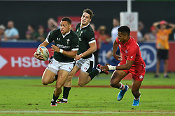 Jay Jones of Wales in action<br /> <br /> Photographer Craig Thomas/Replay Images<br /> <br /> World Rugby HSBC World Sevens Series - Day 2 - Friday 6rd December 2019 - Sevens Stadium - Dubai<br /> <br /> World Copyright © Replay Images . All rights reserved. info@replayimages.co.uk - http://replayimages.co.uk