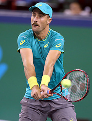 Oct. 12, 2017 - Shanghai, China - STEVE JOHNSON of the United States returns the ball during the singles third round match against Marin Cilic of Croatia at 2017 ATP Shanghai Masters tennis tournament in Shanghai, east China. Cilic won 2-0. (Credit Image: © Fan Jun/Xinhua via ZUMA Wire)