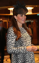 The Duchess of Cambridge during her tour of the Royal Princess after the Princess Cruises ship naming ceremony at Ocean Terminal, Southampton.