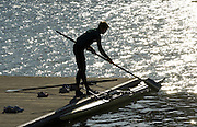 2005 FISA Team Cup, Rio Guadalquiver Rowing Course, Seville, SPAIN, 19.02.2005. Training Day;.Photo  Peter Spurrier. .email images@intersport-images... Sunrise, Sunsets, Silhouettes © Peter SPURRIER, Atmospheric, Rowing