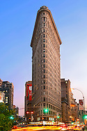 Dusk view of the Flatiron building (orginally called the Fuller Building) at 175 Fifth Avenue in Manhattan, New York city. It was completed in 1902.