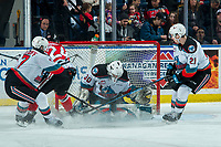 KELOWNA, BC - FEBRUARY 8:  Seth Jarvis #24 of the Portland Winterhawks scores a second period goal on Roman Basran #30 of the Kelowna Rockets at Prospera Place on February 8, 2020 in Kelowna, Canada. (Photo by Marissa Baecker/Shoot the Breeze)