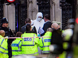 © Licensed to London News Pictures. 22/03/2017. London, UK. Police forensics at the scene of suspected terrorist attack near Houses of Parliament in Westminster, London. Photo credit: Ben Cawthra/LNP