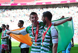 Yeovil Town's Kevin Dawson and captain Jamie McAllister celebrates Yeovil Town's promotion into the Npower Championship after winning the League 1 Play-Off Final - Photo mandatory by-line: Dougie Allward/JMP - Tel: Mobile: 07966 386802 19/05/2013 - SPORT - FOOTBALL - LEAGUE 1 - PLAY OFF - FINAL - Wembley Stadium - London - Brentford V Yeovil Town