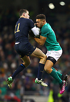 Rugby Union - 2017 Guinness Series (Autumn Internationals) - Ireland vs. Argentina<br /> <br /> Argentina's Ramiro Moyano and Ireland's Adam Byrne contest for possession in the air, at the Aviva Stadium.<br /> <br /> COLORSPORT/KEN SUTTON