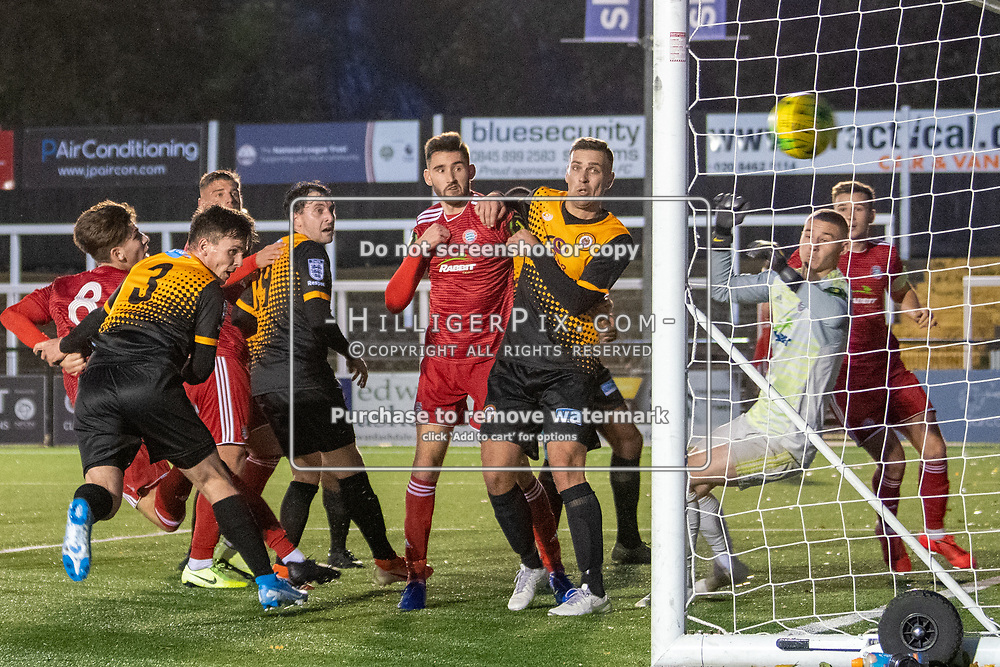 BROMLEY, UK - NOVEMBER 02: Cray Wanderers get an equaliser in the final minute during the BetVictor Isthmian Premier League match between Cray Wanderers and Worthing at Hayes Lane on November 2, 2019 in Bromley, UK. <br /> (Photo: Jon Hilliger)