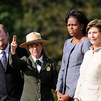 SHANKSVILLE, PA -  SEPTEMBER 11:  (l to r ) Gordon W.Felt, president of Familys of Flight 93 and Joanne Hanley Superintendent  of the Flight 93 National Memorial shows First Lady Michelle Obama and former first lady Laura Bush the future site of the memorial  that's  under construction honoring the 40 victims of  Flight 93 on the ninth anniversary on September 11, 2010 of the terrorist hijacking and crash of the plane in a field near Shanksville, Pennsylvania.   (Photo by Archie Carpenter/Getty Images)