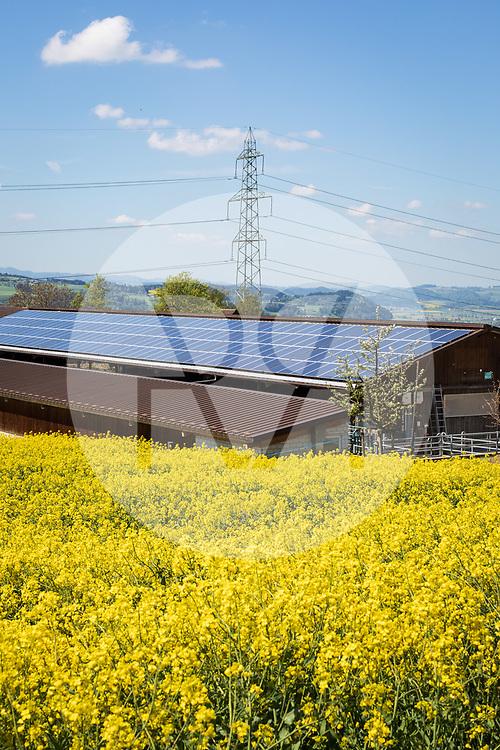 SCHWEIZ - SCHENKON - Photovoltaikanlage auf einem Stalldach eines Bauernhofes, im Hintergrund der Mast einer Hochspannungsleitung - 14. Mai 2019 © Raphael Hünerfauth - https://www.huenerfauth.ch