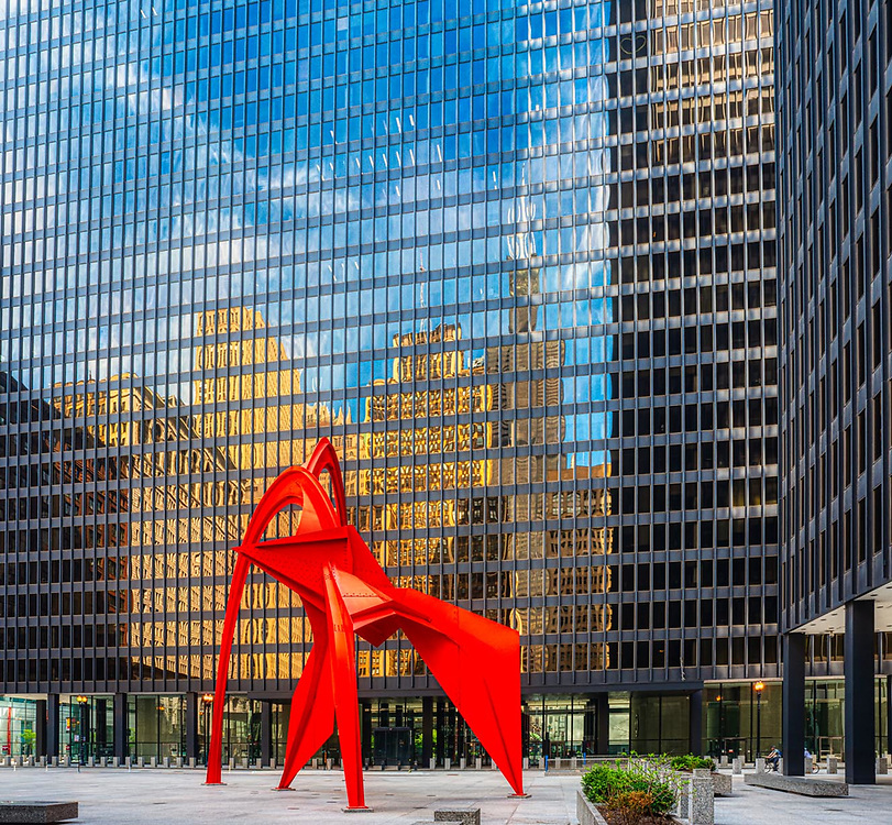 Chicago architecture downtown. May 2nd 2020. During Covid-19 pandemic. Digital photography.