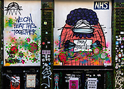NHS support mural on boarded up shop in Brick Lane during the coronavirus pandemic on the 24th April 2020 in London, United Kingdom.