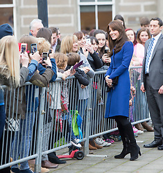 Prince William, Duke of Cambridge and Catherine, Duchess of Cambridge visit the Dundee Rep Theatre as part of their away day to the Scottish City of Dundee, on October 23, 2015, Scotland, UK.
