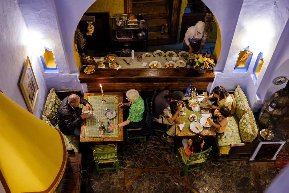 CHEFCHAOUEN, MOROCCO - CIRCA APRIL 2017:  Interior of the restaurant Tissemlal in Chefchaouen.