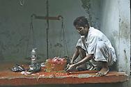 Street butcher, Kolkata, West Bengal, India.