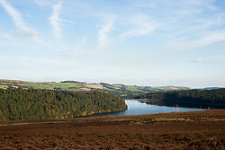 Langsett Reservoir on the Edge of the Peak District Shot from the hills above the south west side of the dam looking East toward Midhope Cliff Lane and the dam wall<br /> 07 October 2012.<br /> Image © Paul David Drabble