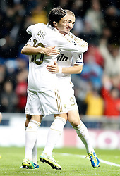 22.11.2011, Estadio Santiago Bernabeu, Madrid, ESP, UEFA CL, Gruppe D, Real Madrid (ESP) vs Dinamo Zagreb (CRO) im Bild Real Madrid's Mesut Özil/ Oeziland Karim Benzema celebrate // during the football match of UEFA Champions league, group D, between Real Madrid (ESP) and Dinamo Zagreb (CRO) at Santiago Bernabeu Stadium, Madrid, Spain on 2011/11/22. EXPA Pictures © 2011, PhotoCredit: EXPA/ Alterphotos/ Alvaro Hernandez..***** ATTENTION - OUT OF ESP and SUI *****
