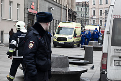 April 3, 2017 - Saint Petersburg, Russia - Emergency vehicles and a helicopter are seen at the entrance to Technological Institute metro station in Saint Petersburg on April 3, 2017. A blast hit the metro system of Russia's second city Saint Petersburg Monday, authorities said, with news agencies quoting security sources as saying that about ten people have been killed. (Credit Image: © Valya Egorshin/NurPhoto via ZUMA Press)