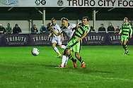 Forest Green Rovers Christian Doidge(9) attempts to get on the end of a cross during the FA Trophy match between Truro City and Forest Green Rovers at Treyew Road, Truro, United Kingdom on 13 December 2016. Photo by Shane Healey.