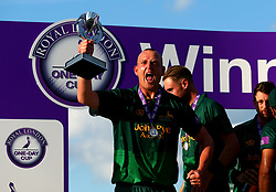 Luke Fletcher of Nottinghamshire celebrates with the Royal London One-Day Cup after his side's win over Surrey in the Final - Mandatory by-line: Robbie Stephenson/JMP - 01/07/2017 - CRICKET - Lord's Cricket Ground - London, United Kingdom - Nottinghamshire v Surrey - Royal London One-Day Cup Final 2017