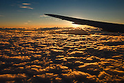 Sunrise from airliner, Buenos Aires, Argentina