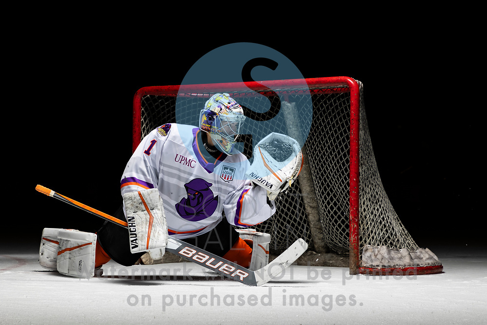 Youngstown Phantoms player photo shoot on April 14, 2021. <br /> <br /> Colin Purcell, goalie, 1