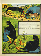 Puss in Boots [Master Cat or the Booted Cat is an Italian and later European literary fairy tale about an anthropomorphic cat who uses trickery and deceit to gain power, wealth, and the hand of a princess in marriage for his penniless and low-born master.] From the Book The Marquis of Carabas' picture book : containing Puss in Boots, Old Mother Hubbard, Valentine and Orson, the absurd ABC. Illustrated by Walter Crane, Edmund Evans, and Sarah Catherine Martin. Publisher London (The Broadway, Ludgate) ; New York (416 Broome Street) : George Routledge and Sons in 1874