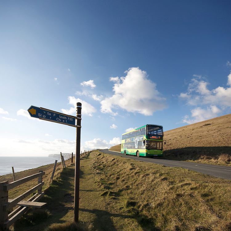 Southern Vectis bus along the military road on the Isle of Wight