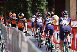 CANYON//SRAM Racing and Boels Dolmans pass at team presentation for Strade Bianche - Elite Women 2020, a 136 km road race starting and finishing in Siena, Italy on August 1, 2020. Photo by Sean Robinson/velofocus.com