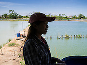 14 MAY 2013 - BANGKOK, THAILAND:  A woman talks about the shrimp industry after feeding shrimp on a shrimp farm in Saphunburi, Thailand. Early mortality syndrome, better known as EMS -- or Acute Hepatopancreatic Necrosis Syndrome, (AHPNS) as scientist refer to it -- has wiped out millions of shrimp in  Thailand, the leading shrimp exporter in the world. EMS first surfaced in 2009 in China, where farmers noticed that their prawns had begun dying en-masse, without any identifiable cause. By 2011, shrimp farms in China's Hainan, Guangdong, Fujian and Guangxi provinces were suffering losses as great as 80%. Farmers named the disease based on its immediate effect – Early Mortality Syndrome. After China, EMS devastated shrimp farms in Vietnam and Malaysia. The province of Tra Vinh, Vietnam, saw 330 million shrimp die in the month of June 2011 alone. In Malaysia, where EMS first emerged in 2010, commercial prawn production declined by 42%. EMS hit Thailand in early 2013. As a result of early die offs in Thailand many farmers left their shrimp ponds empty and stores that sell shrimp farm supplies have reported up to 80% drop in business as shrimp farm owners have cut back on buying.      PHOTO BY JACK KURTZ