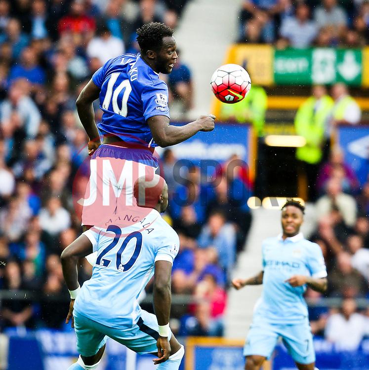 Everton's Romelu Lukaku beats Eliaquim Mangala of Manchester City to a header - Mandatory byline: Matt McNulty/JMP - 07966386802 - 23/08/2015 - FOOTBALL - Goodison Park -Everton,England - Everton v Manchester City - Barclays Premier League