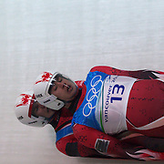 Winter Olympics, Vancouver, 2010.Tristan Walker and Justin Snith, Canada,  in action during the Luge Doubles at the Whistler Sliding Centre, Whistler, during the Vancouver  Winter Olympics. 16th February 2010. Photo Tim Clayton