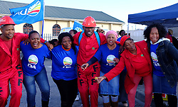 supporters of the Economic Freedom Fighters (EFF) and the Democratic Alliance ( DA ) celebrate as they seek voters to support their party in Masiphumelele near Fish Hoek, Cape Town during the 2016 local government elections held across South Africa on the 3rd August 2016<br /> <br /> Photo by - Ron Gaunt / RealTime Images
