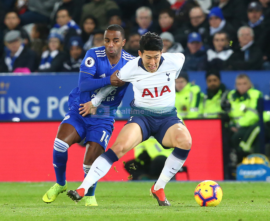 December 8, 2018 - Leicester, England, United Kingdom - Leicester, December 08, 2018.Leicester City's Ricardo Pereira holds onto Tottenham Hotspur's Son Heung-Min.during the English Premier League match between Leicester City and Tottenham Hotspur at the King Power Stadium in Leicester, Britain, 8 December 2018  (Credit Image: © Action Foto Sport/NurPhoto via ZUMA Press)