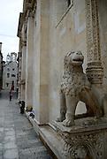 Stone lion guarding side portal, Cathedral of Saint Jacob (Sveti Jakova), Sibenik, Croatia. Sometimes also referred to as Cathedral of Saint James.