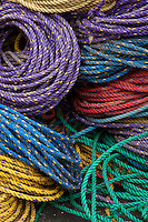 colorful abstract pattern of ropes found on a fishing pier in Bernard, Maine