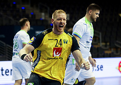 Jim Gottfridsson of Sweden reacts during handball match between National Teams of Sweden and Slovenia at Day 3 of IHF Men's Tokyo Olympic  Qualification tournament, on March 14, 2021 in Max-Schmeling-Halle, Berlin, Germany. Photo by Vid Ponikvar / Sportida