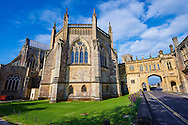"""The facade of the the medieval Wells Cathedral built in the Early English Gothic style in 1175, Wells Somerset, England . Its Gothic architecture is mostly in Early English style of the late 12th – early 13th centuries. Building began about 1175 at the east end with the choir. Historian John Harvey sees it as Europe's first truly Gothic structure. Its Early English front with 300 sculpted figures, is seen as a """"supreme triumph of the combined plastic arts in England"""".<br /> <br /> Visit our MEDIEVAL PHOTO COLLECTIONS for more   photos  to download or buy as prints https://funkystock.photoshelter.com/gallery-collection/Medieval-Middle-Ages-Historic-Places-Arcaeological-Sites-Pictures-Images-of/C0000B5ZA54_WD0s"""