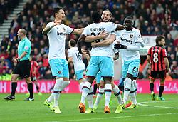 Michail Antonio of West Ham United celebrates his goal with Andy Carroll of West Ham United. - Mandatory by-line: Alex James/JMP - 11/03/2017 - FOOTBALL - Vitality Stadium - Bournemouth, England - Bournemouth v West Ham United - Premier League