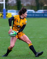 Gemma Rowland of Wasps Ladies passes, pressured by Lauren Delany of Sale Sharks Women  - Mandatory by-line: Nick Browning/JMP - 12/12/2020 - RUGBY - CorpAcq Stadium  - Sale, England - Sale Sharks Women v Wasps FC Ladies - Allianz Premier 15s