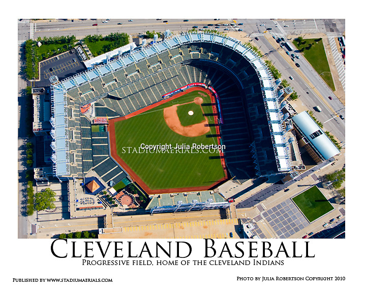 AERIAL VIEW OF PROGRESSIVE FIELD, HOME OF CLEVELAND INDIANS.