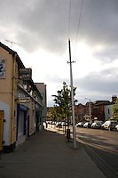 Quiet streets in Glasthule village, Dublin, Ireland, in evening time sunlight